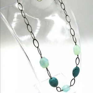 Sterling 925 Howlite & Faceted Glass Necklace